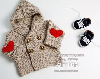 Knitting Pattern - Hooded Baby Jacket, Age 0-3 Months (Pattern No. 064) - INSTANT DIGITAL DOWNLOAD