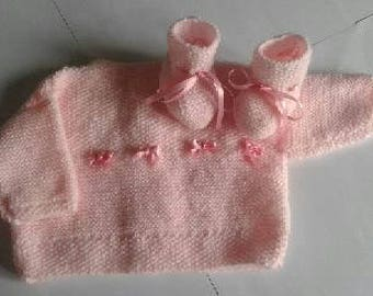 Jacket and booties - baby - 0-1 month set