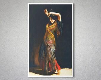 The Flamenco Dancer by Leopold Schmutzler -  Poster Paper, Sticker or Canvas Print / Gift Idea