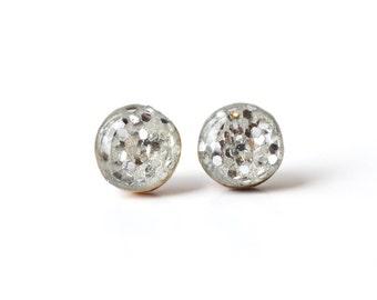 Silver Sparkle Earrings • Simple Earrings • Sparkle Studs • Everyday Earrings • Gift for Her