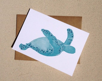 """Sea Turtle Notecards - Beach Notecards -  Thank you cards - Set of Eight (3 1/2"""" X 5"""")"""