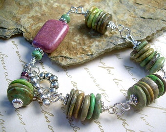 Turquoise And Gemstone Hand Chain Bracelet With Green And Purple Turquoise