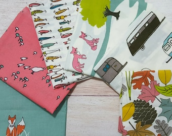 Retro Camping Fabric ORGANIC Fat Quarter Bundle Weekend Travel Adventure Fishing Birds Foxes Birch Fabrics Camp Sur 3 collection by Jay-Cyn