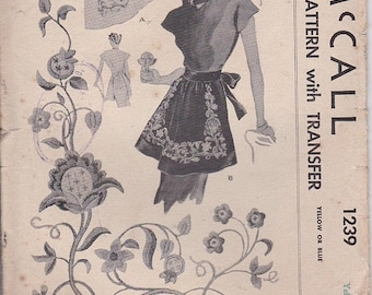 ON SALE 1940's Sewing Pattern - McCalls No 1239  Womens Apron,  No Printed Transfers -  One Size UnCut Factory Folded.