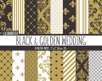 Black and Gold Wedding Digital Paper Package. Damask - Lace Backgrounds. Printable Papers Set. Patterns Digital Scrapbook. Instant Download
