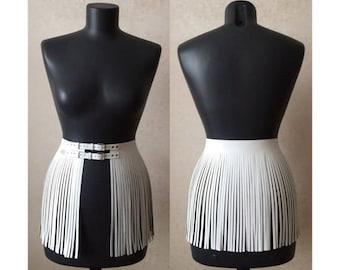 Leather fringe skirt short overskirt 40s double belt