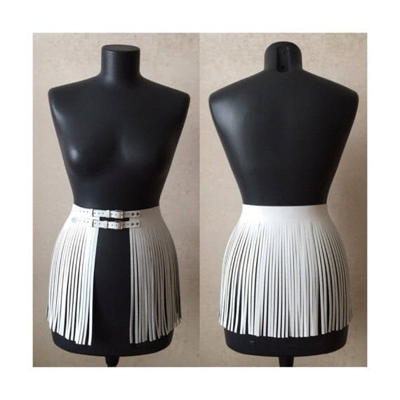 Leather Fringe Skirt Short Overskirt 40s Double Belt by Etsy