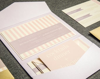 "Blush Wedding Invitations, Striped Wedding Invitations, Custom Wedding Invite, Pink and Lavender, Pocketfold - ""Preppy Chic"" PF-1L-v1 SAMPLE"