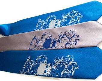 RokGear Neckties 8 Wedding skull neckties custom colors print to order RokGear Skull tie