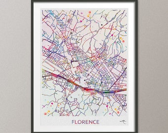 Florence Italy City Map Print Watercolor Art Print Wall Art Italy Street Map Travel Wanderlust Decor Wall Hanging Map of Florence [NO 808]