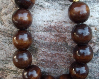 Chunky Brown Wooden Bead Necklace with Antique Gold Spacers