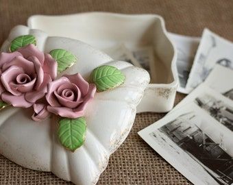 Vintage Ceramic Rose Box Lid Mid Century Vanity Decor Trinket Box Keepsake Box Shabby Chic Mother's Day Gift for Her Dresser Decor Retro Box