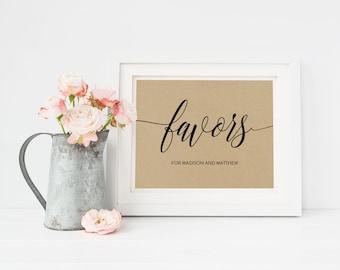 Wedding Sign Template | Favors Sign | Wedding Sign | Printable Wedding Sign | 5x7 & 8x10 | EDN 5396