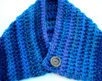 Scarflette Cowl Neckwarmer Blue Crocheted with Button