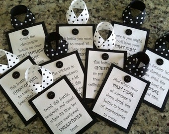 Bridal Shower Wine Tags - Black and White