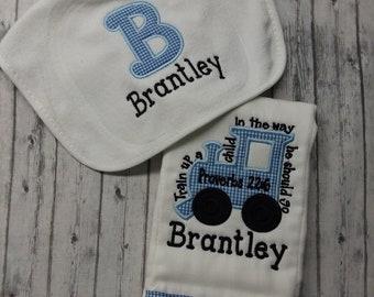 Train up a child burp cloth and bib set, personalized bib and burp cloth set, boy baby shower gift