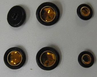 Leather Covered Buttons (Hopper Backs & Jewel Center)