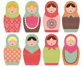 Russian dolls images,  matryoshka images,  royalty free clip art,  commercial use- Instant Download
