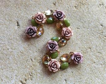 Flower Bracelet, Floral Bracelet, Lavender Flower Bracelet, Statement Bracelet, For Her, Vintage Look