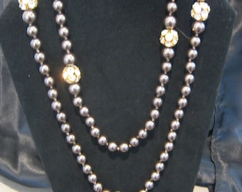Brown faux pearls  and Crystal Necklace  exquisite!  was 149.00  now 88.00