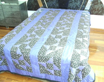 Patchwork Purple Shoo fly Queen size  quilt, Bedding or Modern Quilt