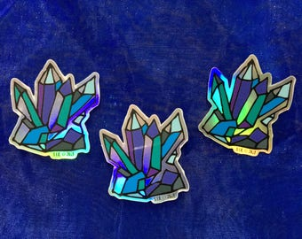 Teal and Blue Holographic Crystal Sticker