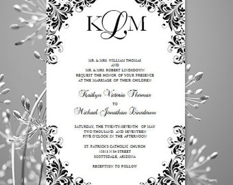 "Black & White Wedding Invitation ""Kaitlyn"" Printable Template Make Your Own Invitations All Colors Av Instant Download Word.doc DIY U Print"