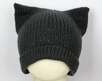 Black Pussy Hat! Slouchy Cap for Men Cat Kitten Hat Pink Ear Hat Women's Rights March on Washington. Men's Beanie Protest Resist Trump