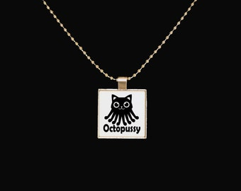 Cat necklace, octopussy, funny necklace, cute jewelry, silver pendant, square pendant, sarcasm, statement jewelry, octopus necklace