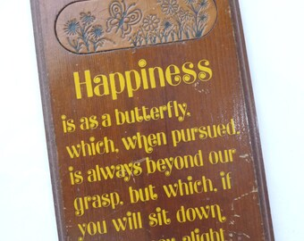 Happiness Plaque, Vintage Wooden Plaque, Vintage Home Decor, Butterfly, Hawthorne, MOM, Vintage Wall Hanging, Beveled Edge, Wood Plaque