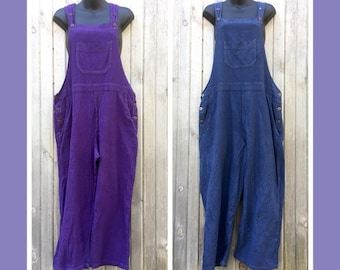 Blue and Purple Cotton Bib Overalls, Hand dyed fair trade cotton clothing, loose fitting women's overalls, colorful bibs, cropped length