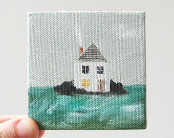 home by the sea / original painting on canvas