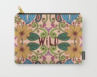 bohemian floral carry all pouch-colorful floral design-coin purse-pencil case-make up bag-flowers-cute gift for her-bridesmaid gift