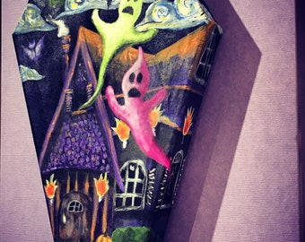 Haunted House on a Coffin Canvas