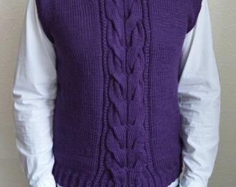 Hand knitted men's vest