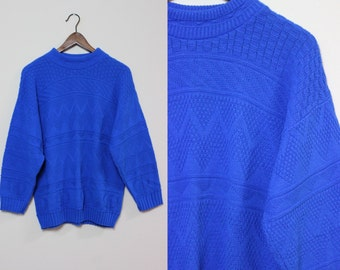 Blue Textured Sweater / Vintage Ribbed Striped Sweater / Slouchy Blue Sweater