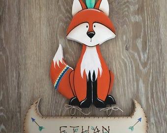 Baby Name Sign, Woodland Nursery, Baby Shower Gift, Fox Nursery, Nursery Decor, Woodland Party, Baby Boy, Forest, Nursery Art, Nursery