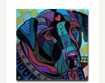 SALE NOW- Black Labrador Retriever Lab art Tile Ceramic Coaster Print of painting by Heather Galler