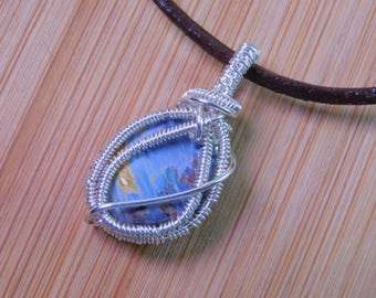 Small Blue Pietersite Polished Stone Pendant Wire Wrapped in Sterling Silver Wire Wrapped Jewelry Handmade Handcrafted Boho Jewelry Weave