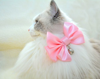Fancy cat bow tie in pink, baby blue, ivory colours, slide on cat bow tie, fits most types of pet collars