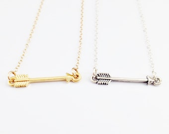 Arrow Necklace // Gold Arrow Necklace // Sterling Silver Arrow Necklace // Skinny Sideways Necklace