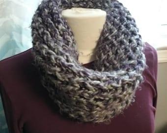 Super Cozy Loom-knit Neck Warmer - Purple & Gray Multi