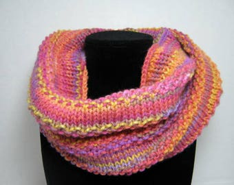 Rosy Red Knitted Cowl Scarf in Acrylic Yarn