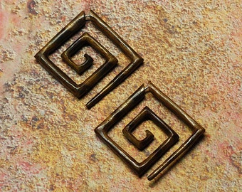 Fake Gauge Earrings, Large Square Spirals, Organic, Wood Carving, Tribal Earrings, Split Expanders, Plugs, Cheaters, Eco Friendly  - W8