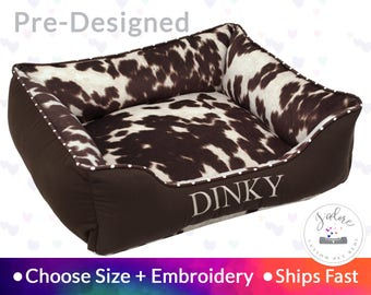 Faux Cowhide Dog Bed with Personalization - Faux Fur, Southwest, Country - Washable, Reversible and High Quality - Ships Fast!