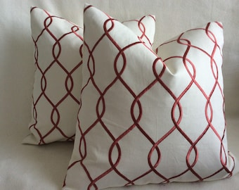 Embroidered Ogee Designer Pillow Cover Set - Red Clay/ Off White - 2pc Set - 19x19 Covers