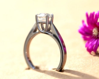 TALL solitaire - 3/4 carat Round - Diamond Engagement Ring - 14K White Gold - brides - engagement - Bps02