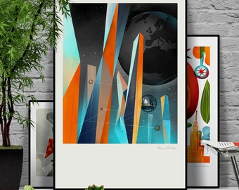 Earth 2.0. Our abandoned planet seen from space. Original illustration art poster giclée print signed by Paweł Jońca.