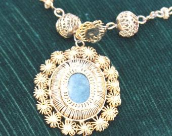 Necklace and Bracelet Set, Demi Paru with Green Stone