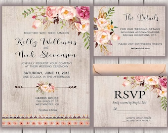 Floral Wedding Invitation, Boho Chic Wedding Invitation, Bohemian Wedding Invite, Wedding Invitational Printable, Southwestern Wedding, B200